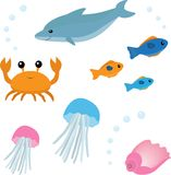 Cartoon sea life set 2 Stock Images