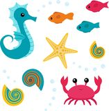 Cartoon sea life set 3 vector illustration