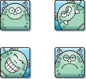 Cartoon Sea Monster Icons. A cartoon icon set of a sea monster with a mix of expressions Stock Image