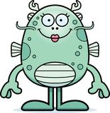 Cartoon Sea Monster Smiling. A cartoon illustration of a sea monster smiling Stock Photo