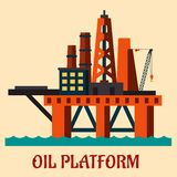 Cartoon sea oil platform Stock Images