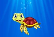 Cartoon sea turtle swimming in the ocean. Illustration of Cartoon sea turtle swimming in the ocean stock illustration