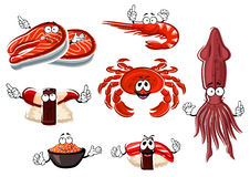 Cartoon seafood and animals characters Royalty Free Stock Image