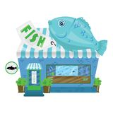 Cartoon seafood shop. A small cute fish market. Business illustration. Art Stock Photos