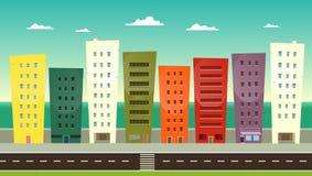 Cartoon Seafront. Illustration of a cartoon city near the sea for summer holidays Stock Photos