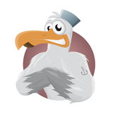 Cartoon seagull with hat and anchor tattoo. Funny cartoon seagull with hat and anchor tattoo Stock Images