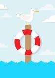 Cartoon Seagull Sits On A Pole