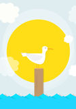 Cartoon seagull sits on a pole Royalty Free Stock Images