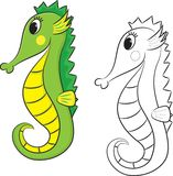 Cartoon Seahorse. Coloring Book Stock Photo