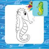 Cartoon seahorse. Coloring page. Vector illustration Stock Photos