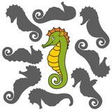 Cartoon seahorse. Find the right shadow image. Educational games for kids. rCartoon seahorse Royalty Free Stock Photo