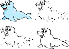 Cartoon seal. Vector illustration. Coloring and dot to dot game Royalty Free Stock Photography