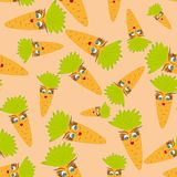 Cartoon seamless with animated carrots. Abstract  illustration Stock Photo