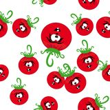 Cartoon seamless with animated tomato. Es. Abstract  illustration Stock Image