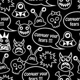 Cartoon seamless background with monsters. Cartoon seamless black background with different monsters and the inscription conquer your fears Royalty Free Stock Photography