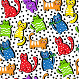 Cartoon seamless colorful cats Stock Photography