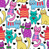 Cartoon seamless colorful cats Stock Photo