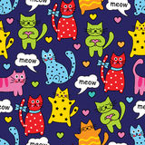 Cartoon seamless colorful cats royalty free illustration