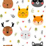 Cartoon seamless forest animals pattern royalty free stock images