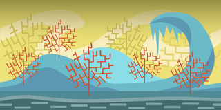 Cartoon seamless landscape, vector endless background with ground, forest and sky layers Royalty Free Stock Images