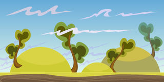 Cartoon seamless landscape, vector endless background with ground, rocks, clouds and sky layers. Cartoon fantastic landscape, vector endless background Royalty Free Stock Images