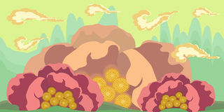 Cartoon seamless landscape, vector endless background with ground and sky layers Stock Photo