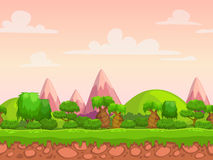 Cartoon seamless nature landscape vector illustration