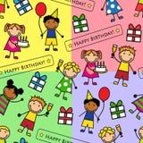 Cartoon seamless pattern with birthday party stock illustration