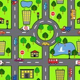 Cartoon seamless pattern with bright road, the car and the city Stock Image