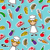 Cartoon seamless pattern with chef and food Royalty Free Stock Photos