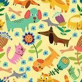 Cartoon seamless pattern for childish designs. Funny animals in flowers. Cartoon seamless pattern for childish designs.  Seamless pattern can be used for Royalty Free Stock Image
