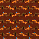 Cartoon seamless pattern for childish designs. Funny dachshunds. Cartoon seamless pattern for childish designs.  Seamless pattern can be used for wallpaper Stock Photo