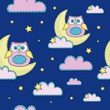 Cartoon Seamless Pattern Color Vector Illustration NIGHT OWL vector illustration
