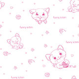 Cartoon seamless pattern with cute catsny cats Stock Photography