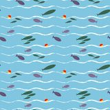 Cartoon seamless pattern with cute fishes. Underwater life vector flat style wallpaper Stock Image