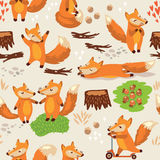 Cartoon seamless pattern with cute foxes. Vector Stock Photos