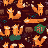 Cartoon seamless pattern with cute foxes. Vector Stock Images
