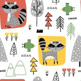 Childish seamless pattern with raccoons royalty free stock images