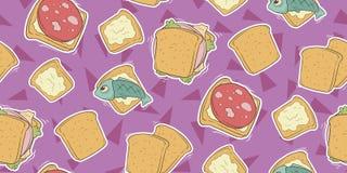 Cartoon seamless pattern with cute sandwiches. A vector illustration of cartoon seamless pattern with cute sandwiches Royalty Free Stock Image