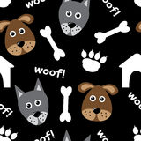 Cartoon seamless pattern with dogs vector illustration