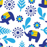 Cartoon seamless pattern with elephants plant elements Stock Photos