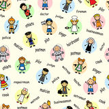 Cartoon seamless pattern with employees Stock Photos