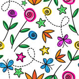 Cartoon seamless pattern with flowers Royalty Free Stock Photography