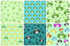 Cartoon seamless pattern from Frogs. Different Colored toads Stock Photo