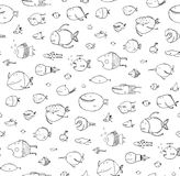 Cartoon Seamless Pattern Funny Childish Fish Black on White Line Art. Funny cartoon fish pattern outline drawing backdrop. Pencil style. EPS10 vector has no Stock Photography