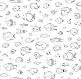 Cartoon Seamless Pattern Funny Childish Fish Black on White Line Art Stock Photography