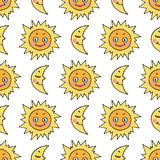 Cartoon seamless pattern with hand drawn doodle sun and moon Stock Images