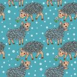 Cartoon seamless pattern with happy sheeps Stock Photos