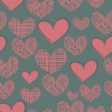 Cartoon seamless pattern with hearts on a blue bac Royalty Free Stock Image