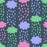 Cartoon Seamless Pattern with Rainy Clouds Stock Image